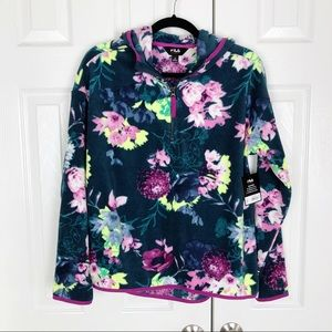 New FILA Floral 1/4 Zip Fleece Pullover Hoodie